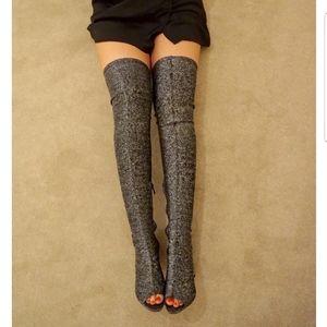 BNIB Black glitter over the knee thigh high boots!
